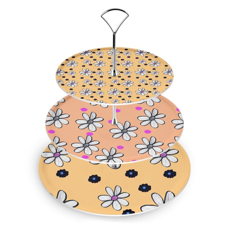 Quirky Peach and yellow Floral Mix Cake Stand