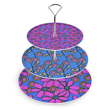 Load image into Gallery viewer, Quirky Pink and Blue Mix Florals Cake Stand