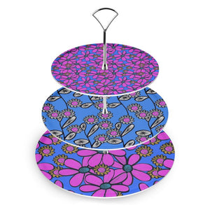 Quirky Pink and Blue Mix Florals Cake Stand