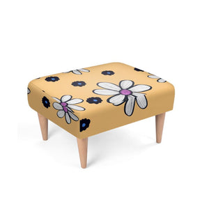 Quirky Flower on a yellow background footstool