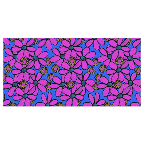 Quirky florals pink flower on a blue background wallpaper