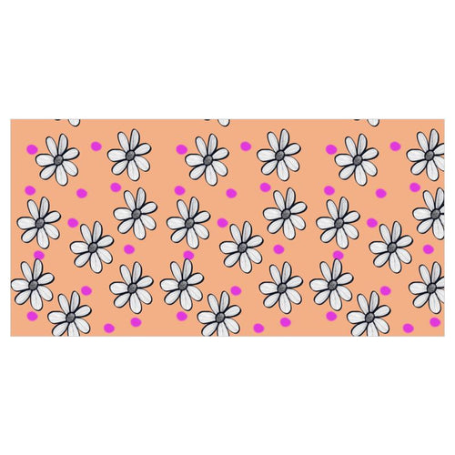 Peach Background pink spot and quirky floral wallpaper