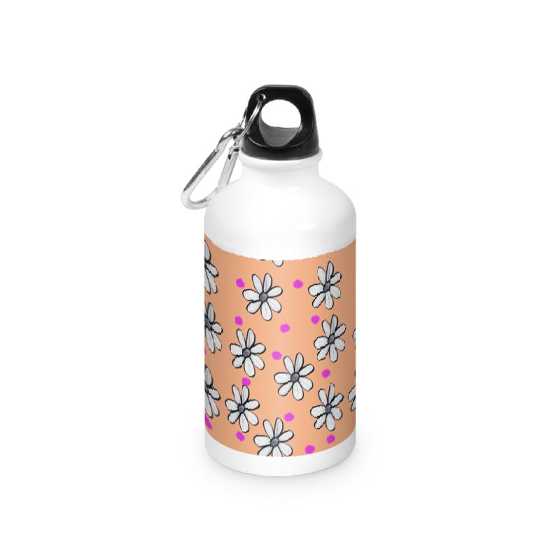 Peach Background quirky flower water bottles