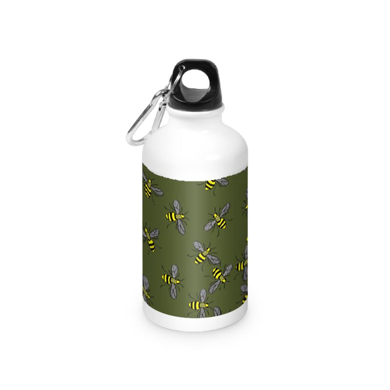 Olive Bees on a water bottle