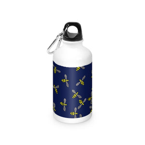 Navy Blue Bees on a water bottle
