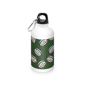 rugby Ball on a green background Water Bottle