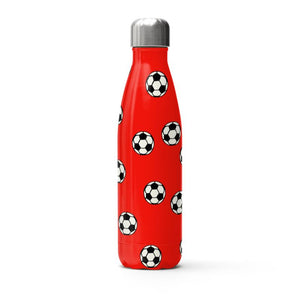 Red Footballs on a thermal bottle