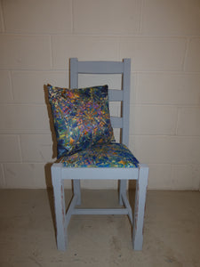Hand Painted Upcycled Chair with bespoke fabric upholstery