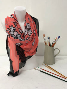 Coral Splatter design design Scarf in a gift box  140cm square