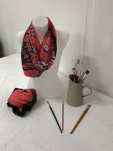 Load image into Gallery viewer, Coral Splatter design design Scarf in a gift box  140cm square