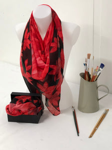 Hand painted red flower design Scarf in a gift box  140cm square