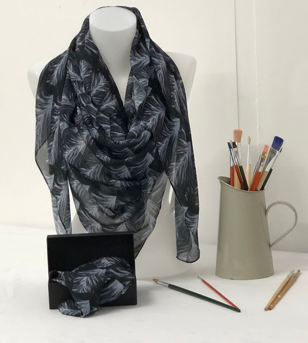 White Feather spiral on a black background design Scarf in a gift box  140cm square