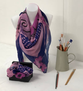 Quirky flower on a pink background design Scarf in a gift box  140cm square