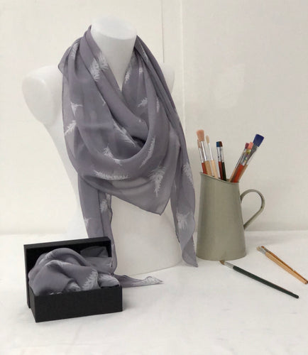 White Feather on a grey background design Scarf in a gift box  140cm square