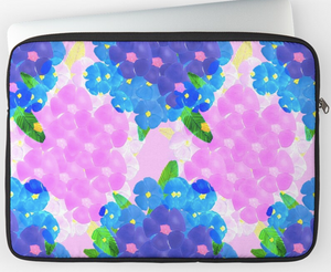 Blue and Pink Bunch Poppies Laptop Sleeve