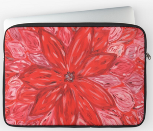 Hand Painted Red Flower Laptop Sleeve