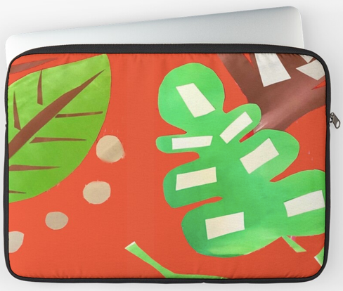 Jungle Leaves orange Laptop Sleeve