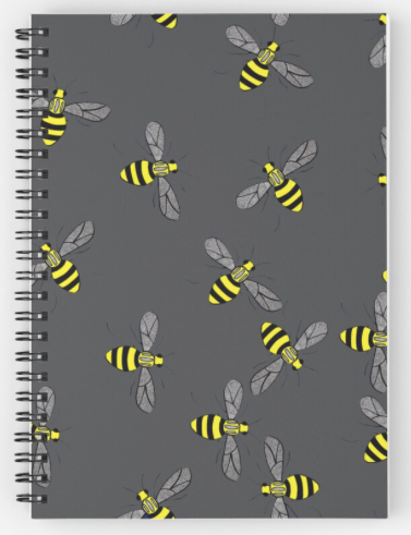 Bees on Grey Spiral Notebook