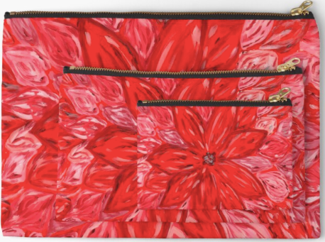 Red Flower Pouches (pack of 3)