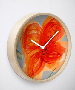 Peach Watercolour Flower Clock