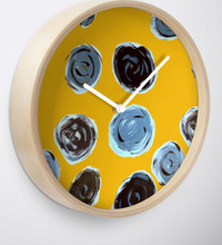 Load image into Gallery viewer, Grey Spot on a Yellow Background Clock