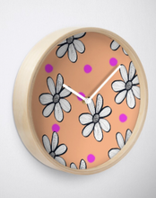 Load image into Gallery viewer, Quirky Flower and Pink Spot Clock