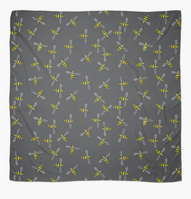 Load image into Gallery viewer, Bees on a grey background design Scarf in a gift box  140cm square