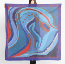 Load image into Gallery viewer, Squiggle Seahorse design Scarf in a gift box  140cm square