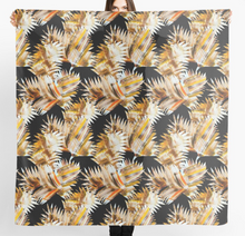 Load image into Gallery viewer, Cut out leaf in browns design Scarf in a gift box  140cm square