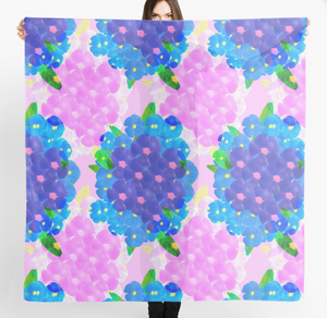 Pink and Blue Pansy design Scarf in a gift box  140cm square