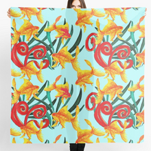 Load image into Gallery viewer, Funky Goldfish design Scarf in a gift box  140cm square
