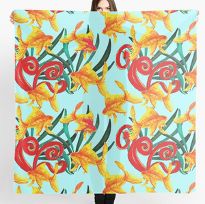 Funky Goldfish design Scarf in a gift box  140cm square