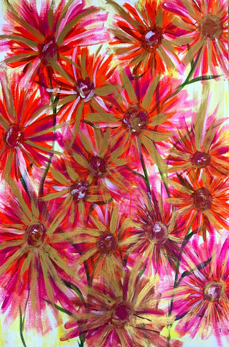 Sunshine Flowers Acrylic Painting ( gicclee prints)
