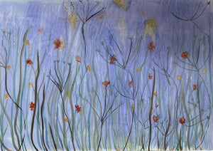 Moody Blue Meadow (Water colour on Canvas) Original