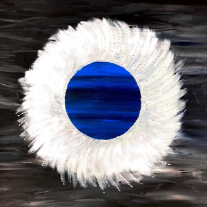 A porthole to the moon 1 metre square acrylic on canvas