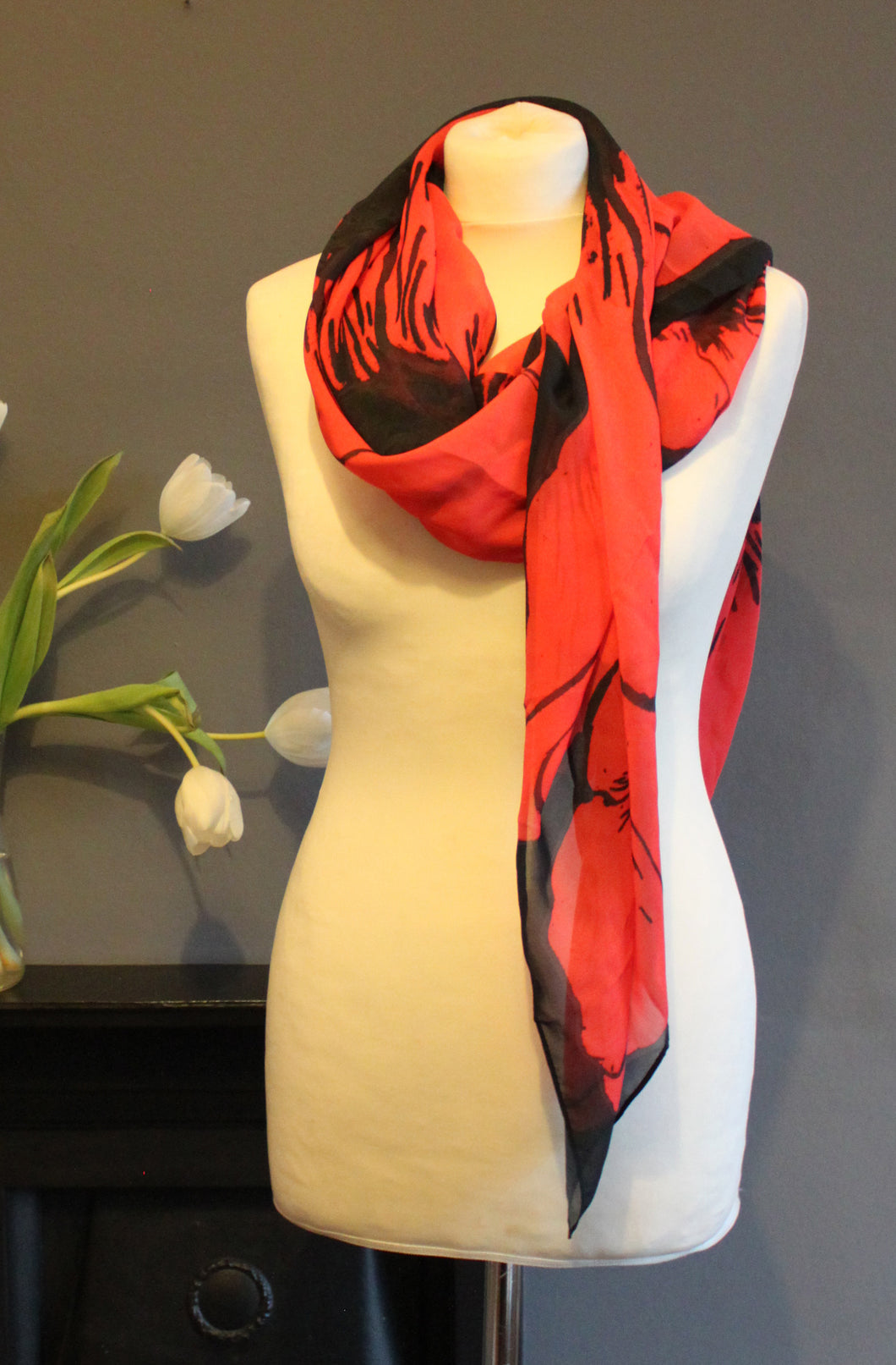 Red Poppy Scarf in a gift box  140cm square