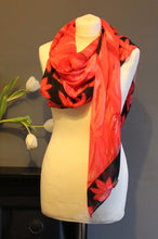 Load image into Gallery viewer, Hand painted red flower design Scarf in a gift box  140cm square