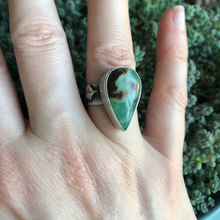 Load image into Gallery viewer, Chrysoprase Holly Ring modeled on hand