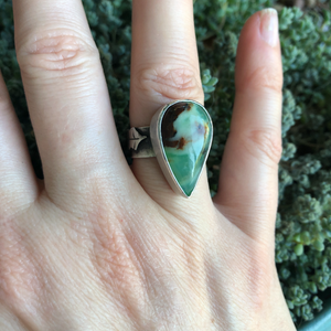 Chrysoprase Holly Ring modeled on hand