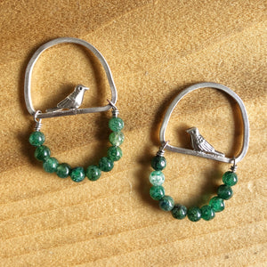 Green Birdie Earrings