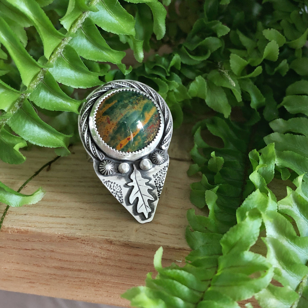 front view of white oak inspired ring with jasper stone in sterling silver