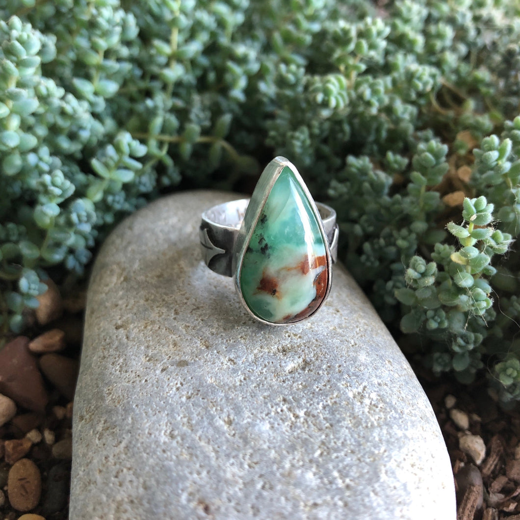 Front view of Chrysoprase Holly Ring  size 6.75