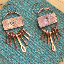 Load image into Gallery viewer, Talisman Eye and copper fringe earrings