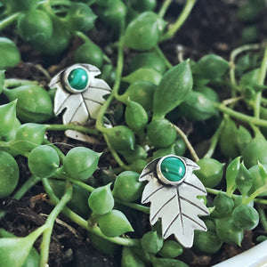 Malachite Leaf Earrings in sterling silver