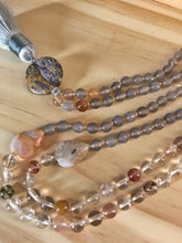 Load image into Gallery viewer, Moonstone and Rutilated Quartz Mala Necklace