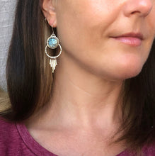 Load image into Gallery viewer, Moon Face Labradorite Earrings