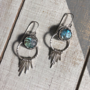Moon Face Labradorite Earrings