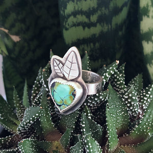 Turquoise Heart Blossom Ring, sterling silver, right view
