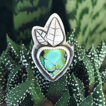 Load image into Gallery viewer, Turquoise Heart Blossom Ring front view