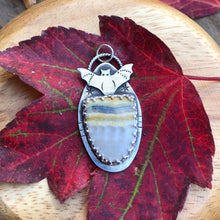 Load image into Gallery viewer, Sterling silver and jasper bat necklace